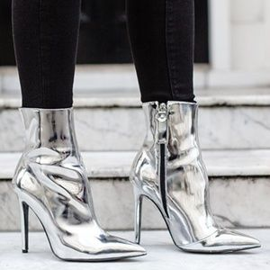 Topshop Toddy Pointy bootie silver NEW